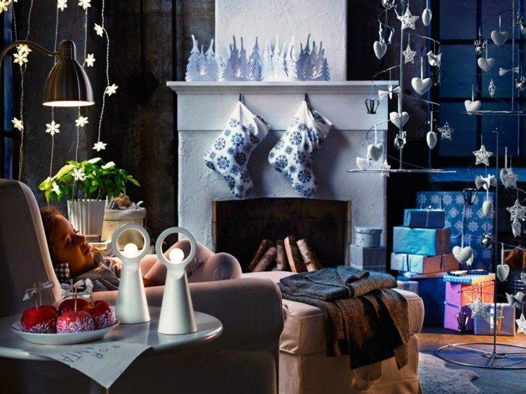 adornos decoracion navideña salon luces calzetines chimenea ideas