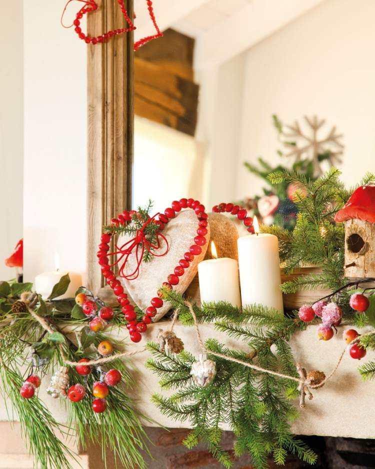 adornos decoracion navideña salon ramas arbol navidad chimenea ideas