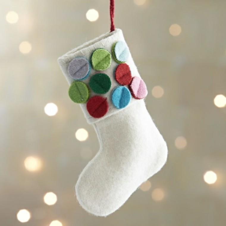 adornos decorativos navidad tejido blanco bota ideas
