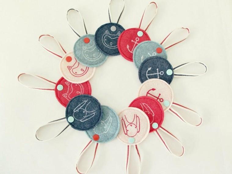 adornos decorativos navidad tejido ornamentos colores ideas