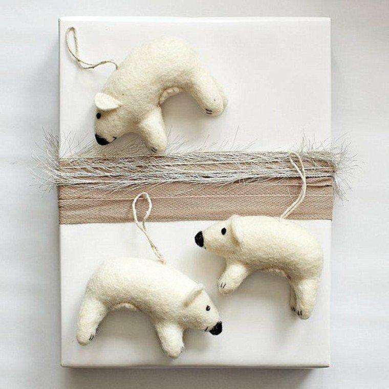 adornos decorativos navidad tejido osos blancos ideas