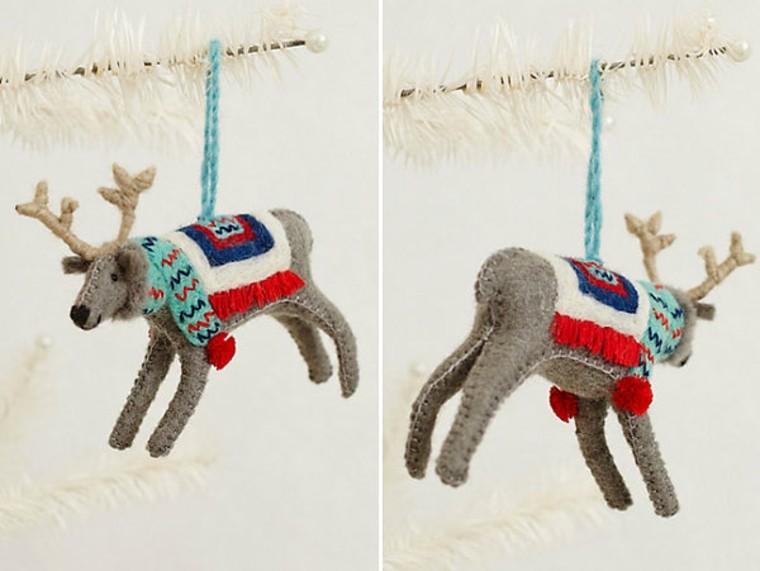 adornos decorativos navidad tejido renos colgar arbol ideas
