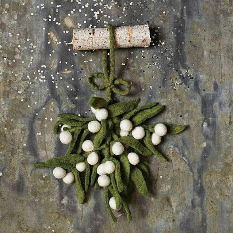 adornos decorativos navidad tejido verde blanco ideas