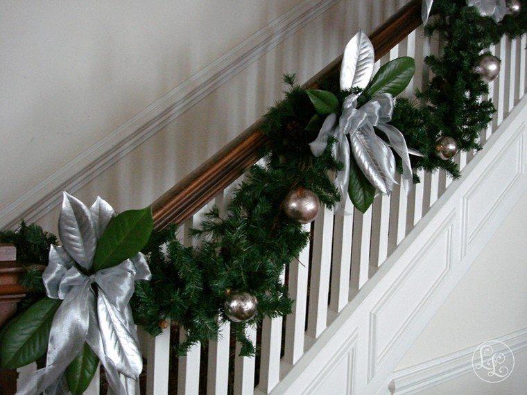 adornos escaleras hojas magnolio