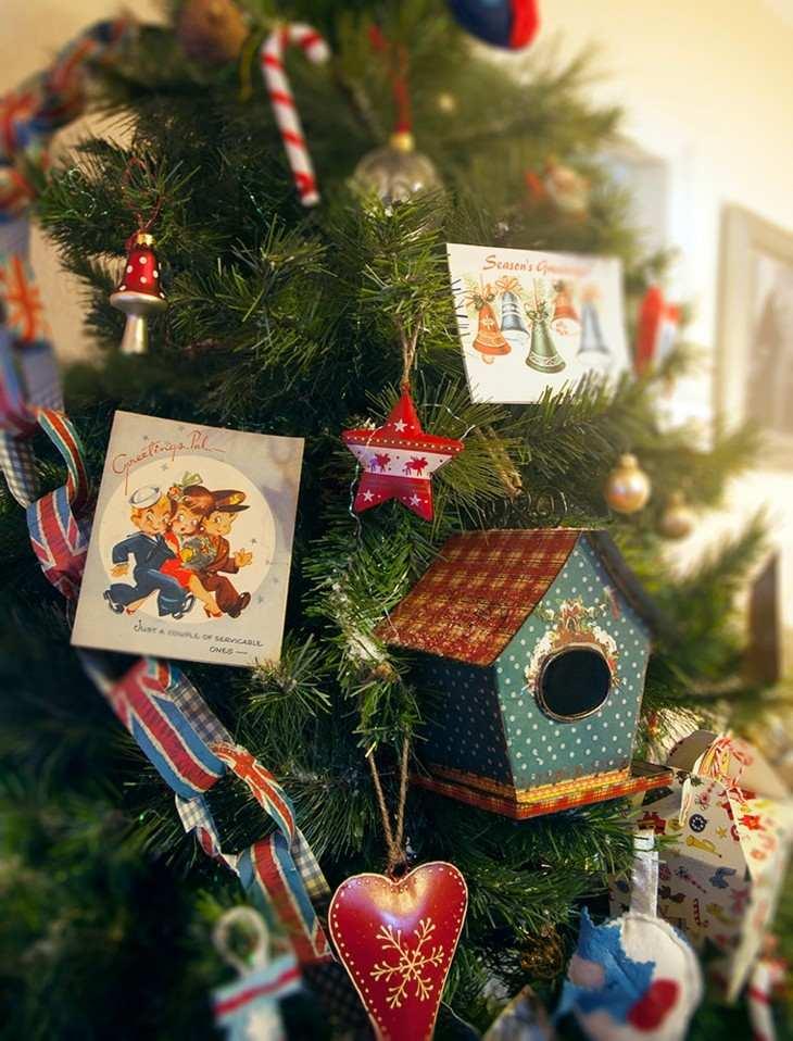 árboles de navidad estilo retro