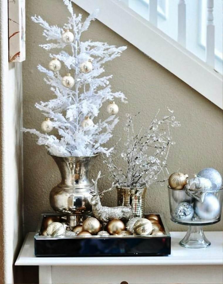 adornos navideños blanco oro
