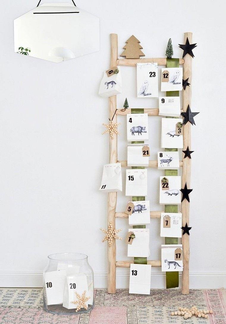 adornos navidad estilo mininalista escalera madera estrellas ideas