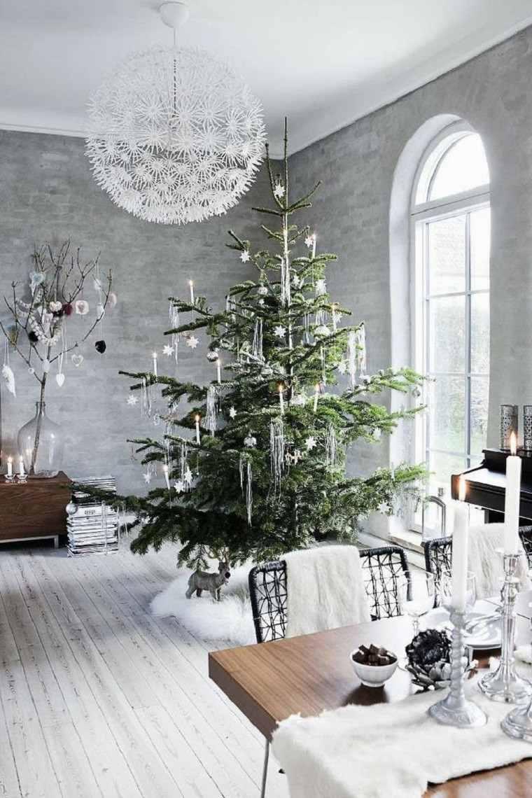 adornos navidad estilo mininalista ramas arbol plata ideas