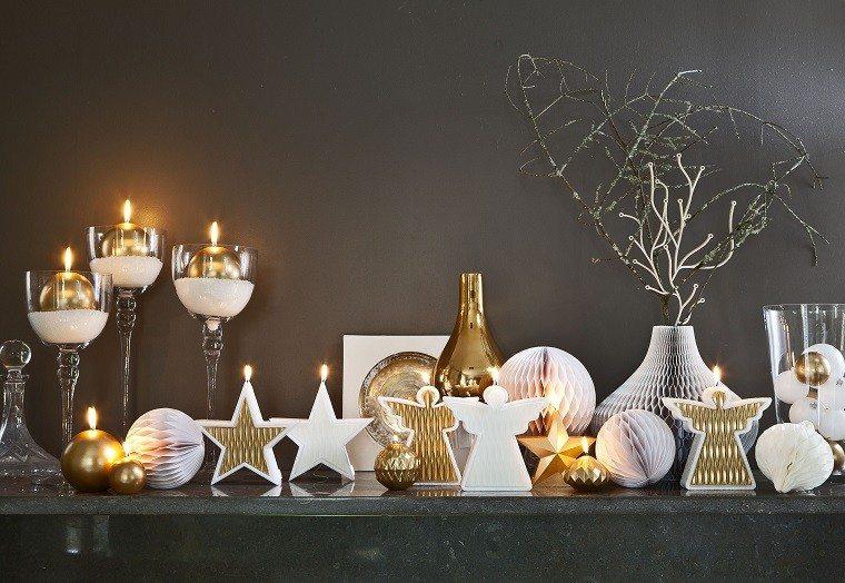 adornos navidad estrellas angeles blancos oro ideas