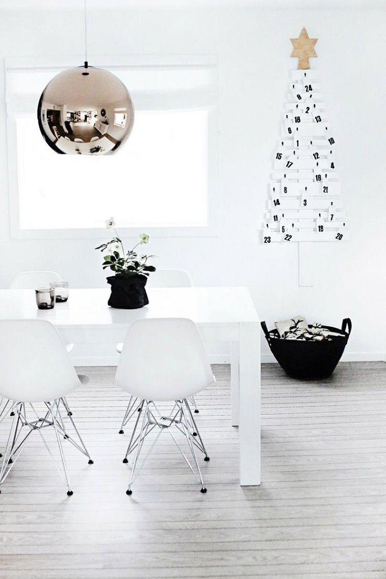 adornos navidad ideas estilo mininalista arbol negro pared moderno