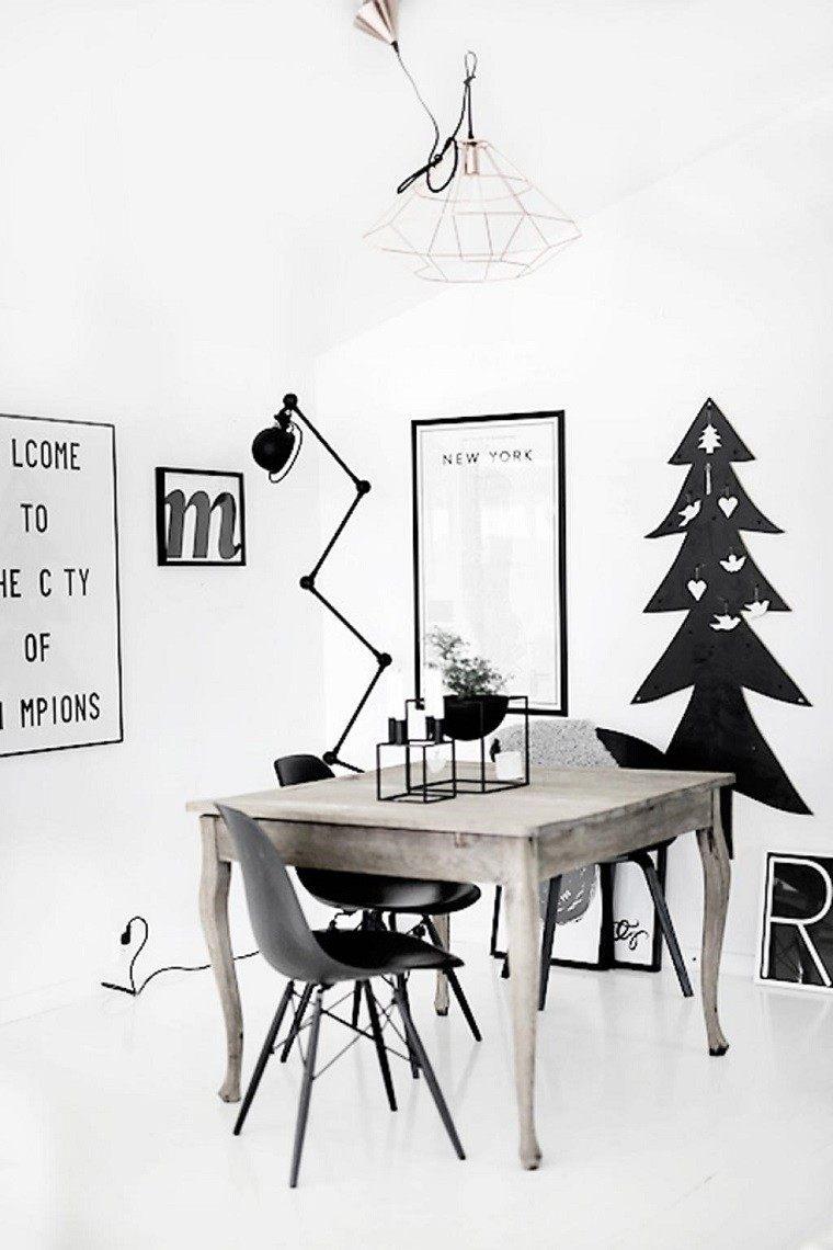 adornos navidad ideas estilo mininalista arbol negro moderno