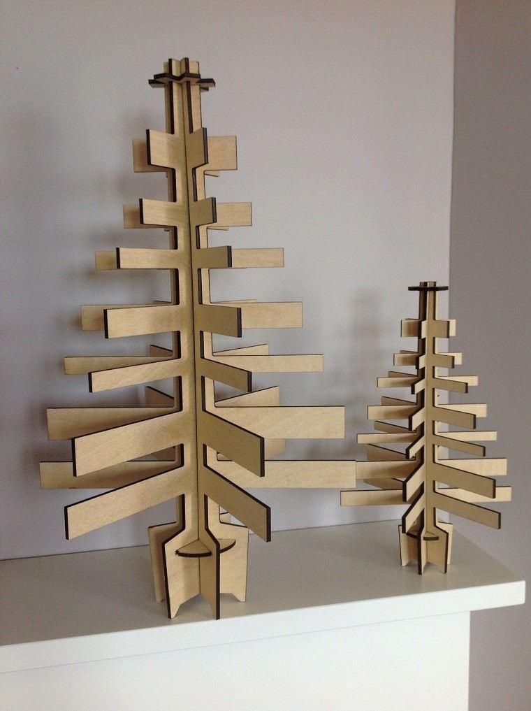 adornos navidad ideas estilo mininalista arboles madera