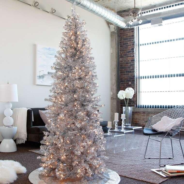 adornos navidad estilo mininalista color plata arbol moderno