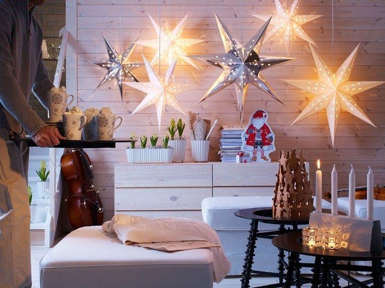 adornos navidad estilo mininalista estrellas colgando techo moderno