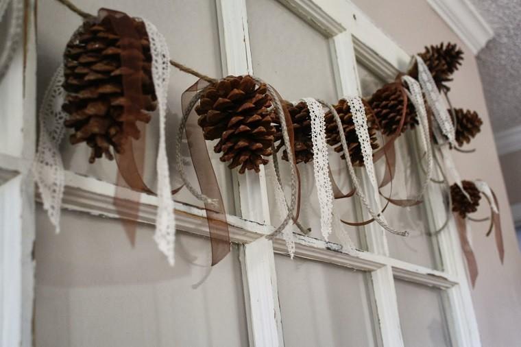 adornos navidad ideas estilo mininalista guirnalda piñas moderna