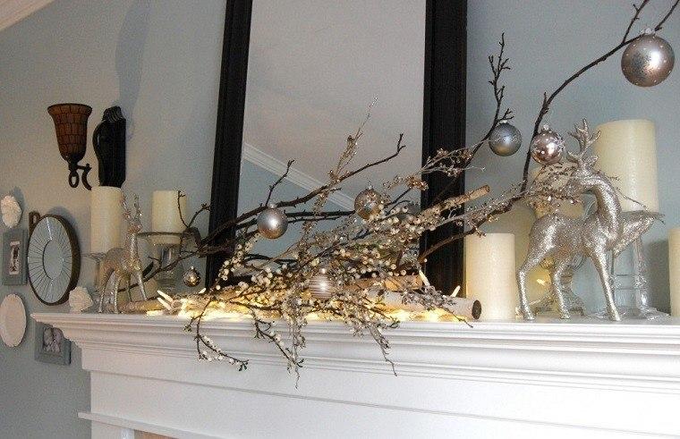 adornos navidad estilo mininalista rama chiemenea moderno