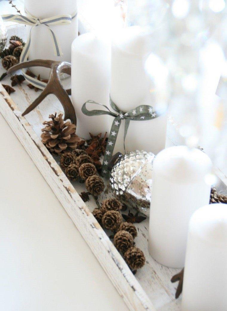 adornos navidad ideas velas pinas blanco moderno