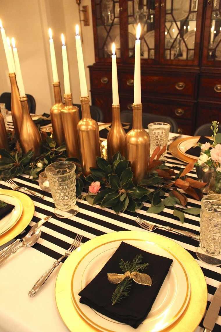 adornos navidad negros botellas oro jarrones ideas