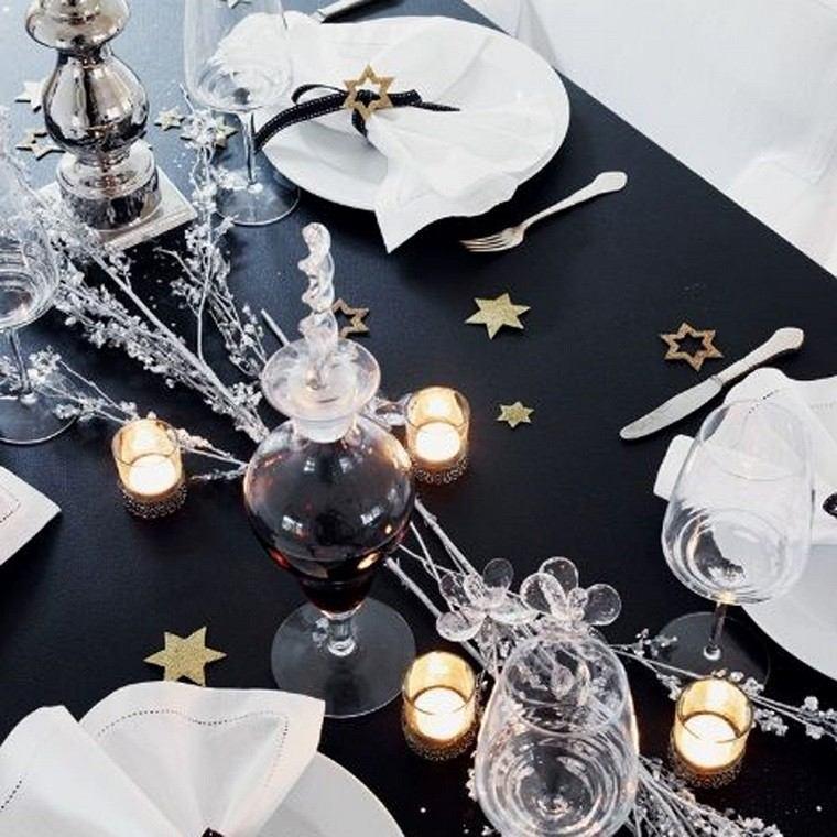 adornos navidad negros mantel velas estrellas ideas