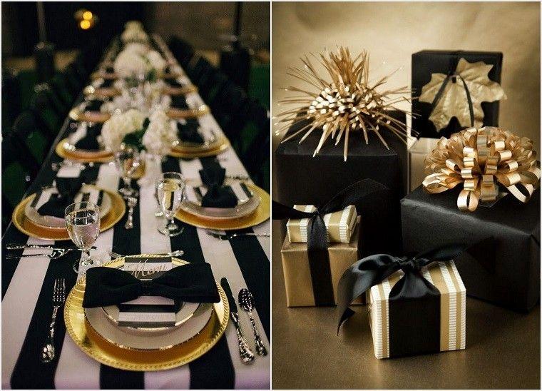 adornos mesa navidad negros mesa regalos lazos oro ideas