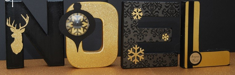adornos navidad negros oro letras decorativas casa ideas