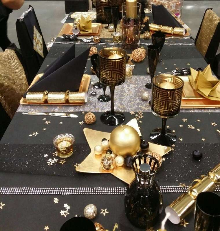 adornos navidad negros oro plato estrella vela candelabro ideas