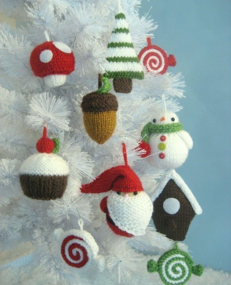adornos navidad tejidos lana arbol blanco ideas