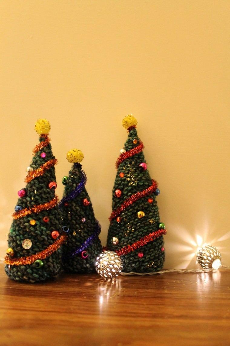 adornos navidad tejidos lana arboles navidad ideas