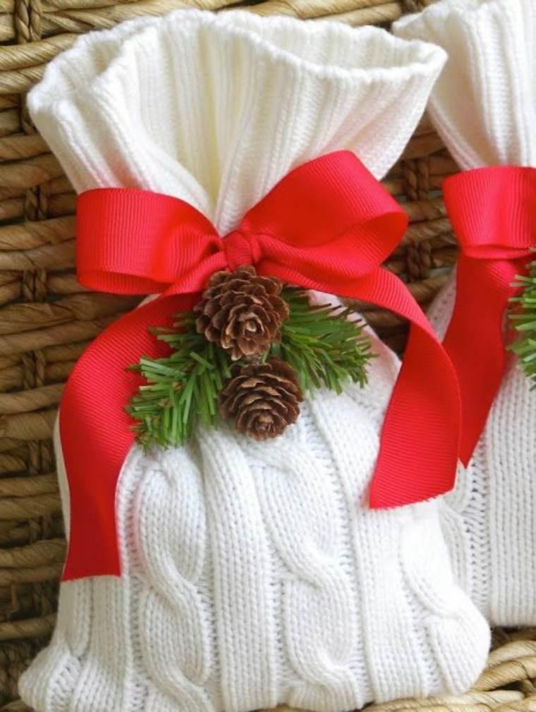 adornos navidad tejidos lana bolsa lazo rojo ideas