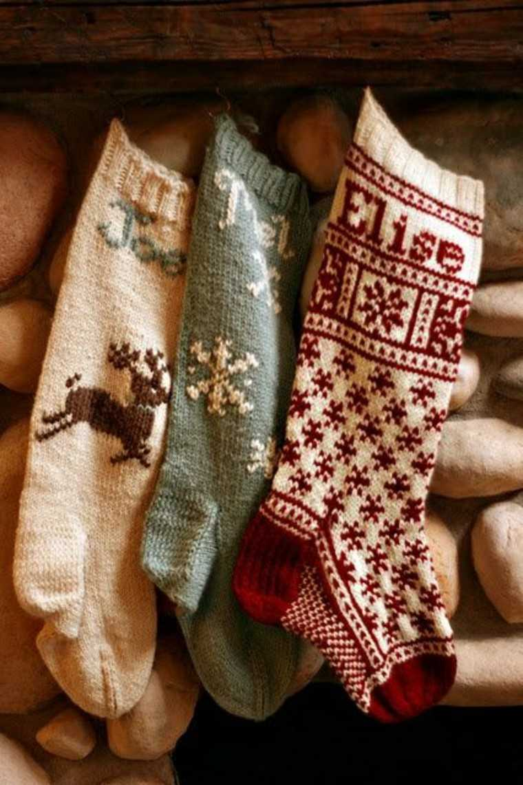 adornos navidad tejidos lana calcetines ideas