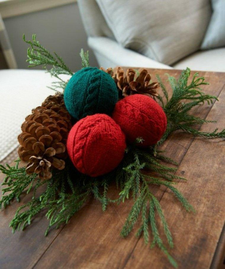 adornos navideños tejidos lana centro mesa ideas