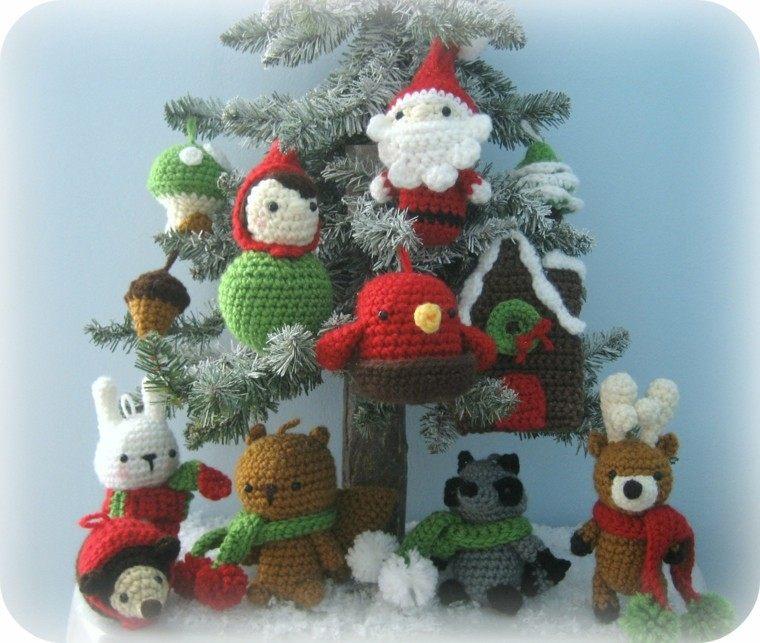 adornos navideos tejidos lana conejo oso ideas