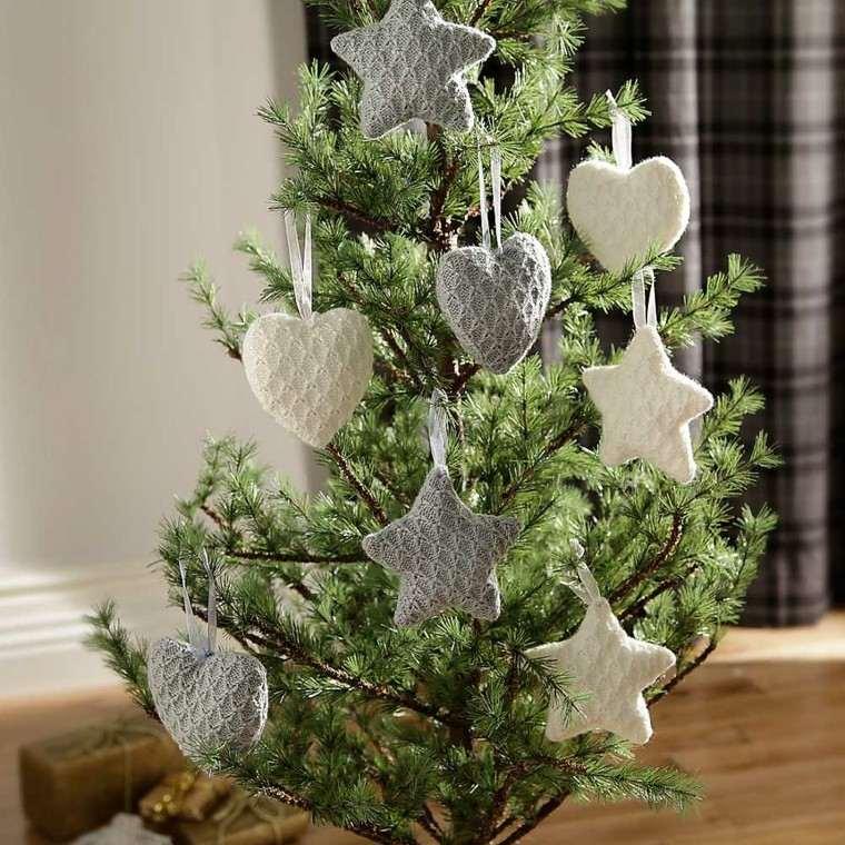 adornos navideños tejidos lana corazones estrellas ideas
