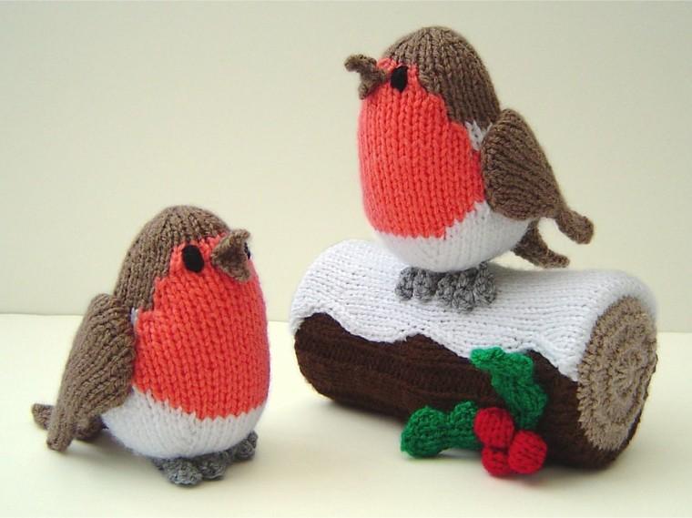 adornos navidad tejidos lana pajaritos ideas