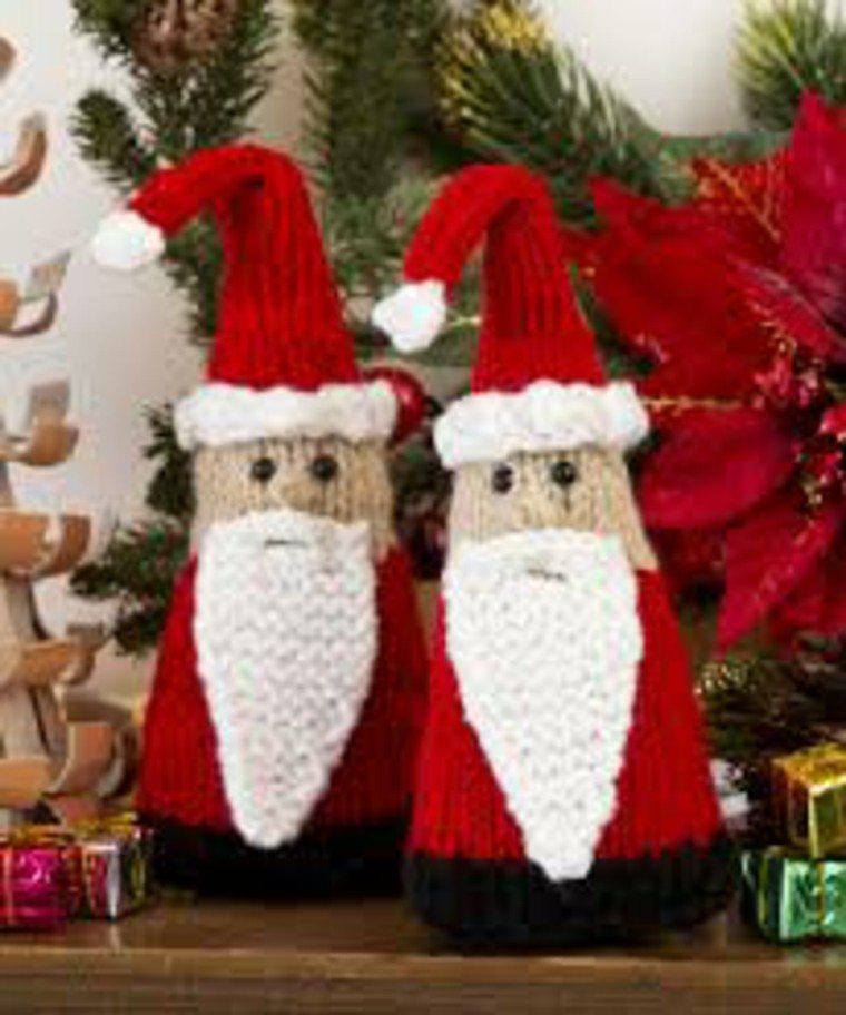 adornos navidad tejidos lana papa noel ideas