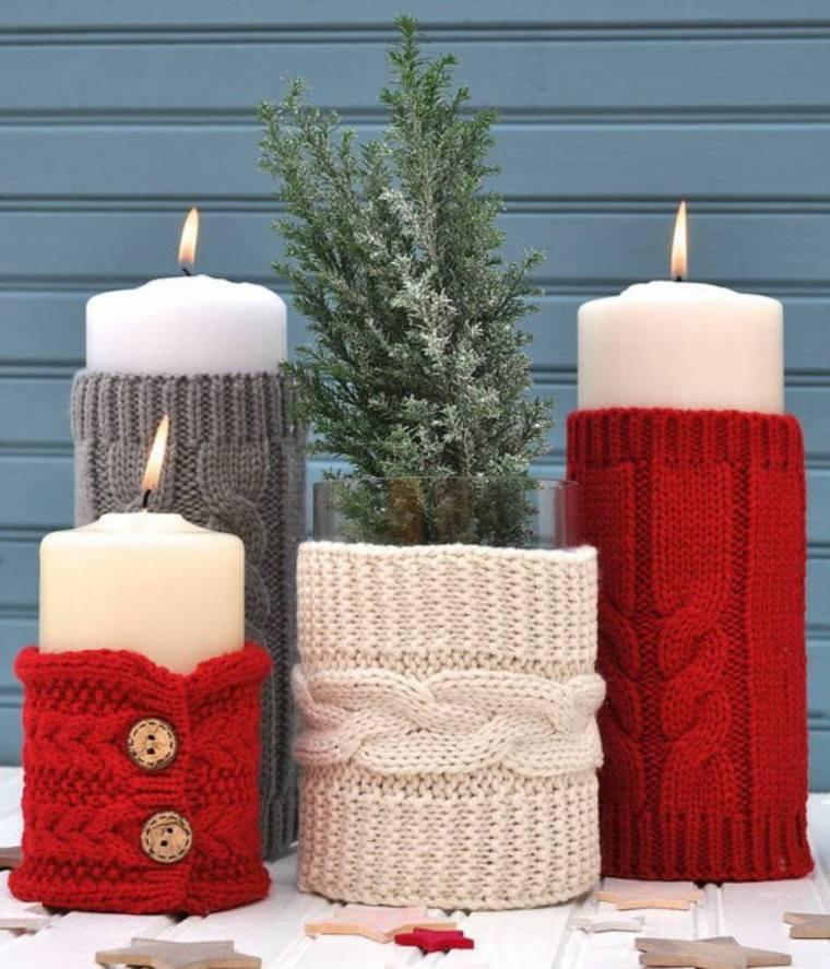 adornos navidad tejidos lana velas vestidas ideas