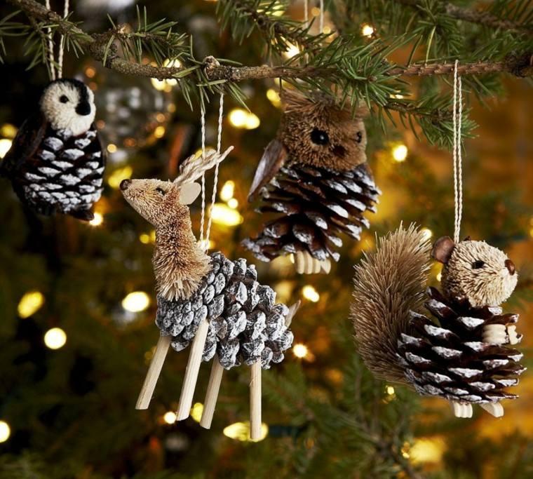 adornos navideos ideas con conos de pino - Como Hacer Adornos De Navidad