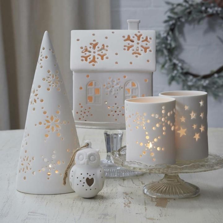 adornos navideños candiles velas agujeros
