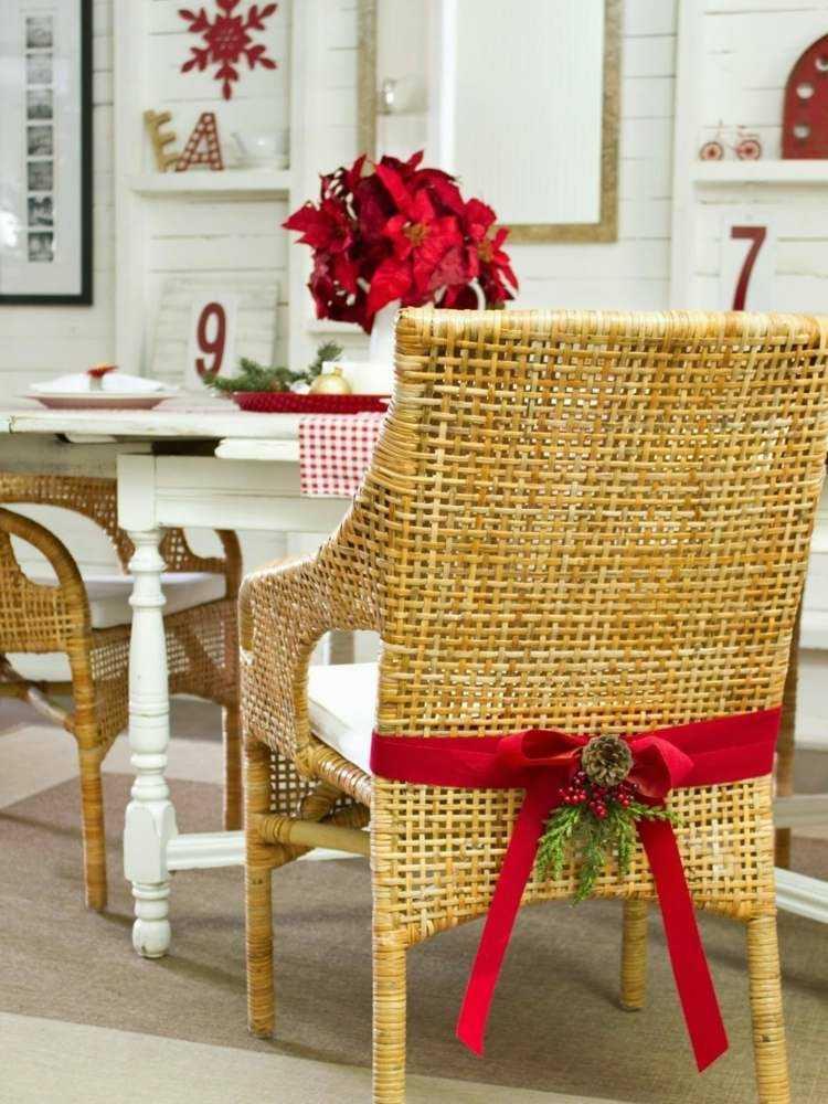 adornos navideños caseros sillas rojo