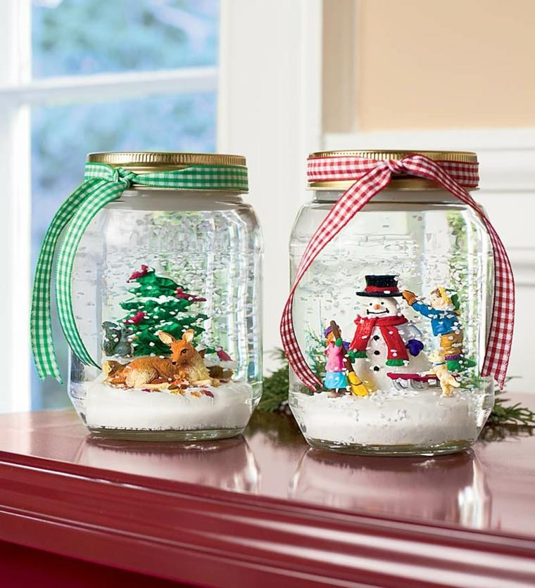 adornos navideños diy coronas envases vidrio