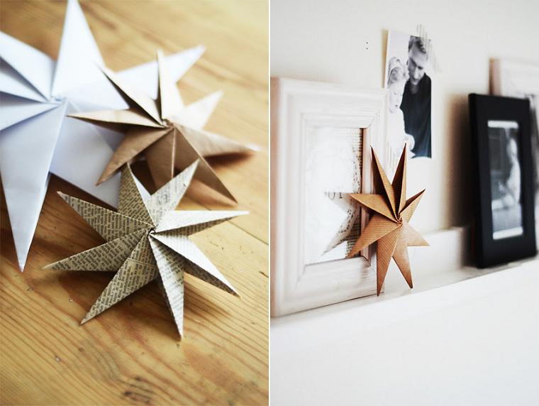 adornos navideños diy estrellas papel