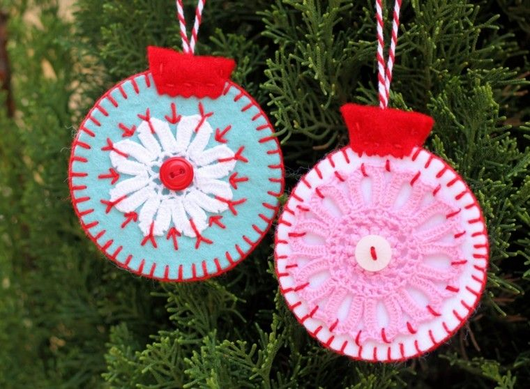 adornos navideños ideas colgante tejido