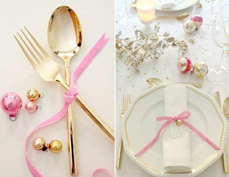adornos navideños mesas esferas diferentes rosa