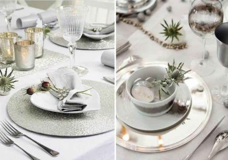 adornos navideños mesas plato tenedores copas