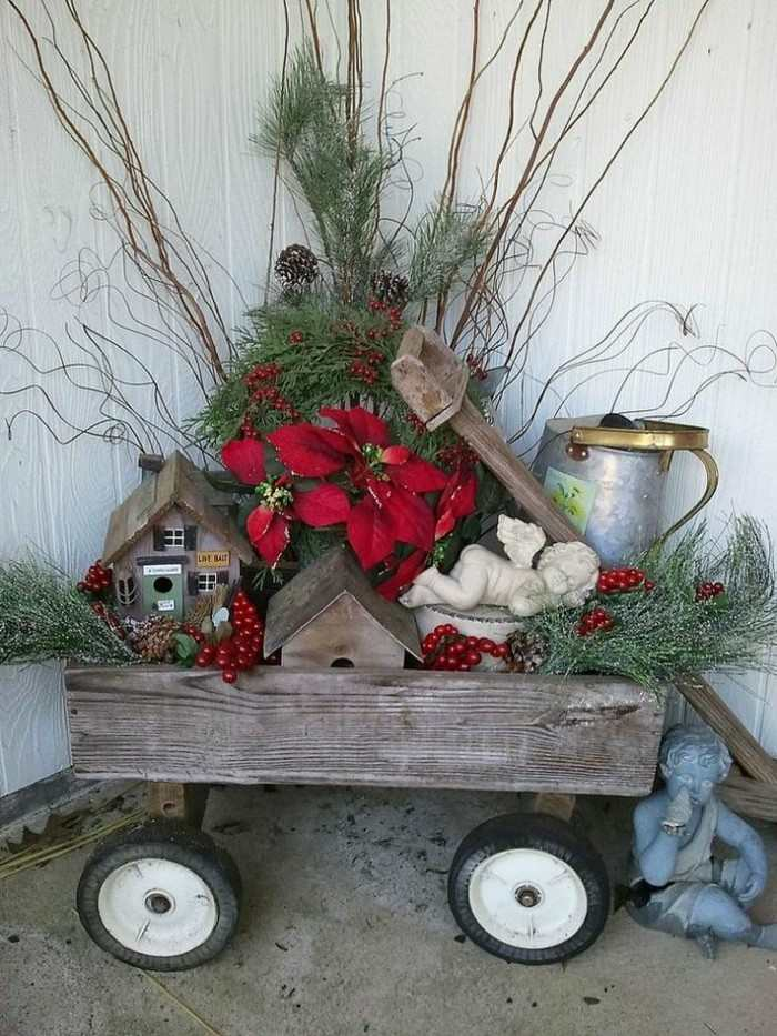 adornos navideños rusticos carrito madera
