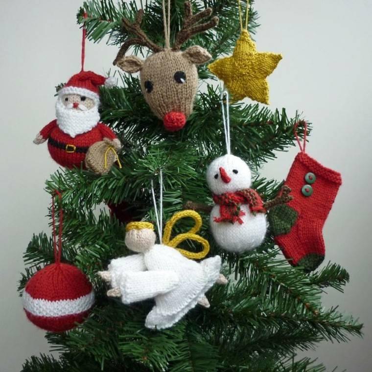 adornos navidenos tejidos lana arbol decorado ideas