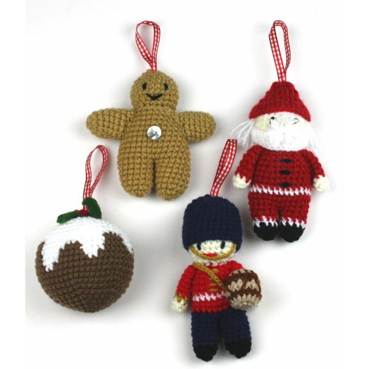 adornos navidenos tejidos lana bola papa noel ideas
