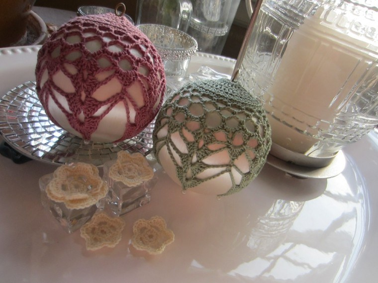 adornos navidenos tejidos lana bolas vestidas ideas