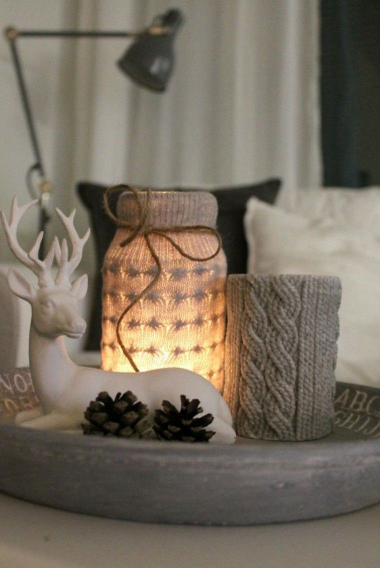 adornos navidenos tejidos lana candelabro gris ideas