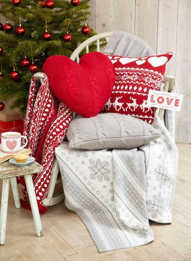 adornos navidenos tejidos lana corazon rojo ideas